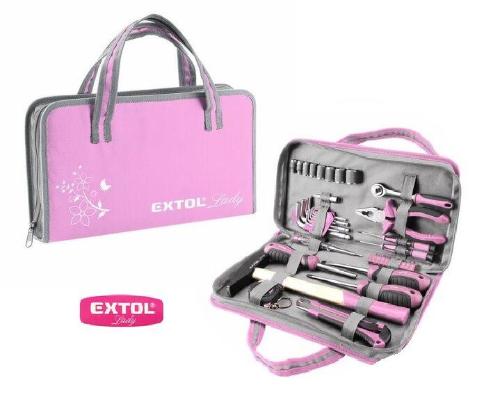 Růžové dámské nářadí v kufříku se zipem EXTOL-LADY